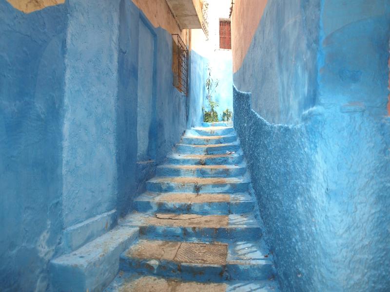 escalier village bleu Maroc