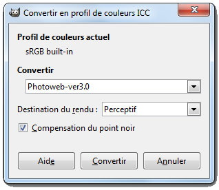 options conversion profil ICC
