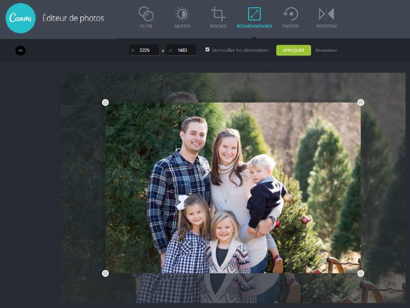exemple comment redimensionner une photo avec un outil en ligne gratuit canva